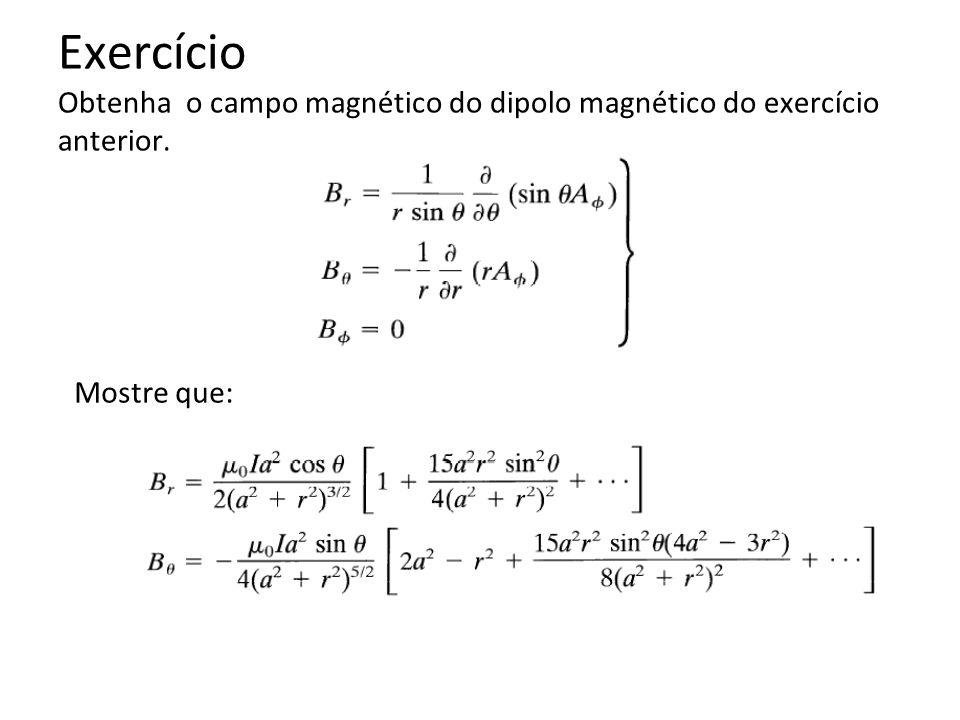 Exercício Obtenha o campo magnético do dipolo magnético do exercício anterior.