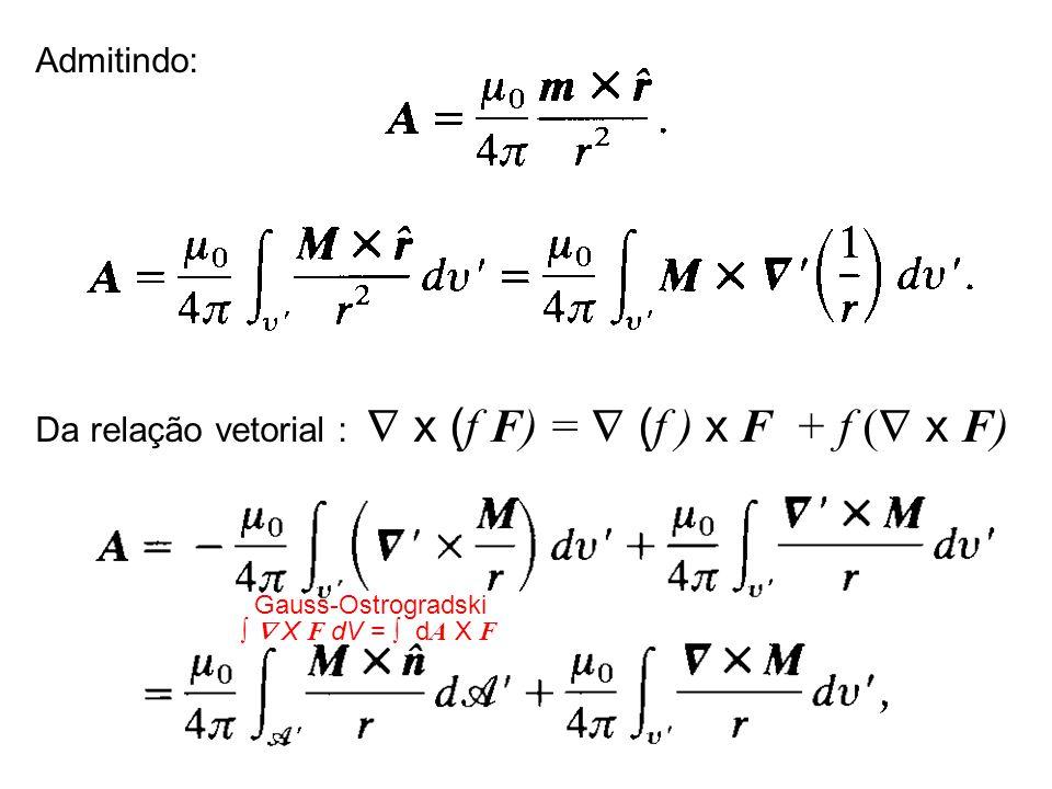 Da relação vetorial :  x (f F) =  (f ) x F + f ( x F)