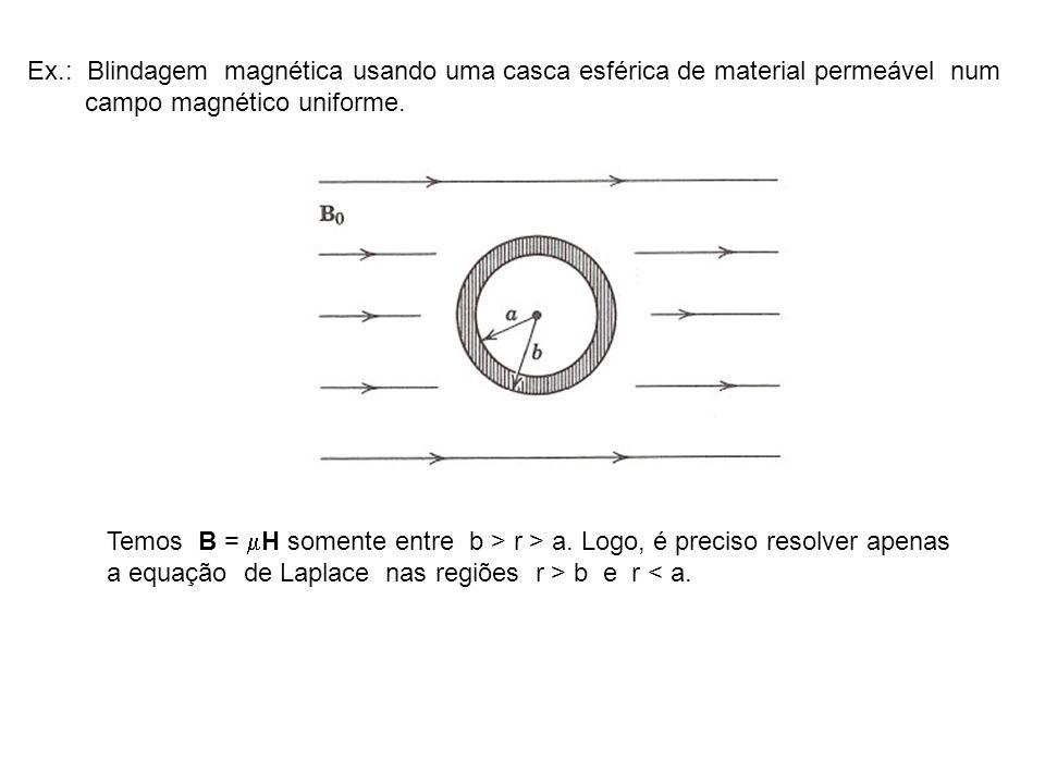 Ex.: Blindagem magnética usando uma casca esférica de material permeável num