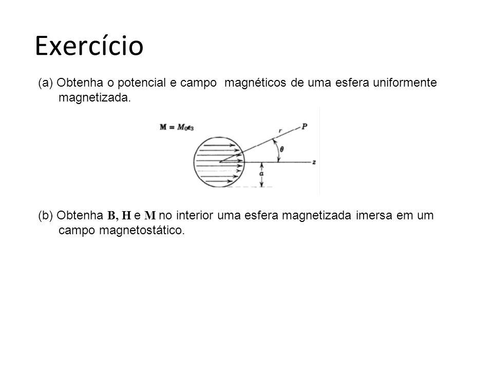 Exercício (a) Obtenha o potencial e campo magnéticos de uma esfera uniformente. magnetizada.