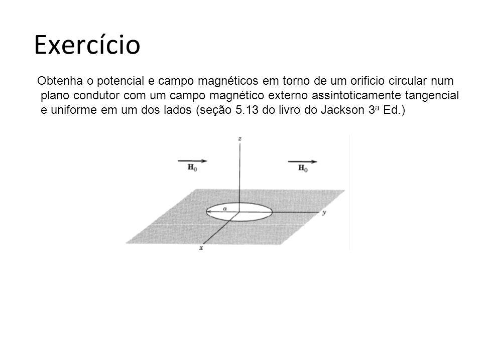 Exercício Obtenha o potencial e campo magnéticos em torno de um orificio circular num.