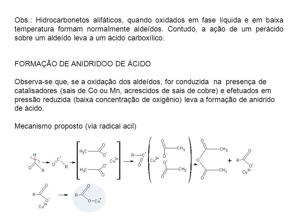 Obs.: Hidrocarbonetos alifáticos, quando oxidados em fase líquida e em baixa temperatura formam normalmente aldeídos. Contudo, a ação de um perácido sobre um aldeído leva a um ácido carboxílico.
