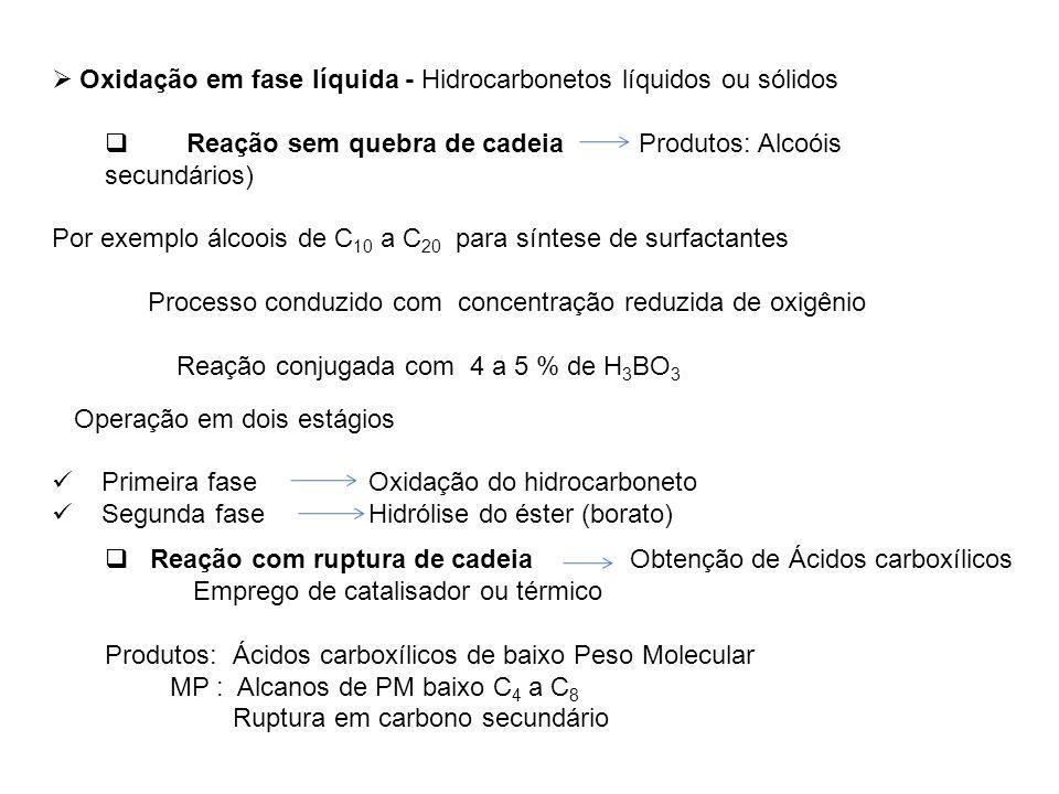 Oxidação em fase líquida - Hidrocarbonetos líquidos ou sólidos