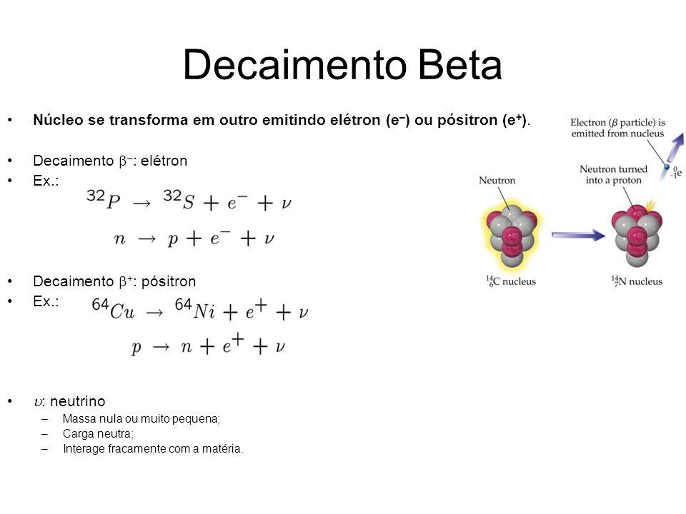 Decaimento Beta Núcleo se transforma em outro emitindo elétron (e–) ou pósitron (e+). Decaimento b–: elétron.