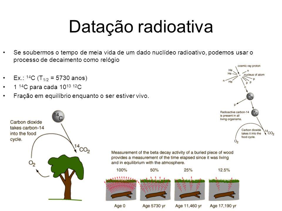 Datação radioativa Se soubermos o tempo de meia vida de um dado nuclídeo radioativo, podemos usar o processo de decaimento como relógio.
