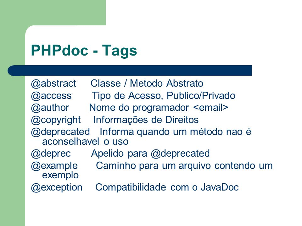 PHPdoc - Tags @abstract Classe / Metodo Abstrato