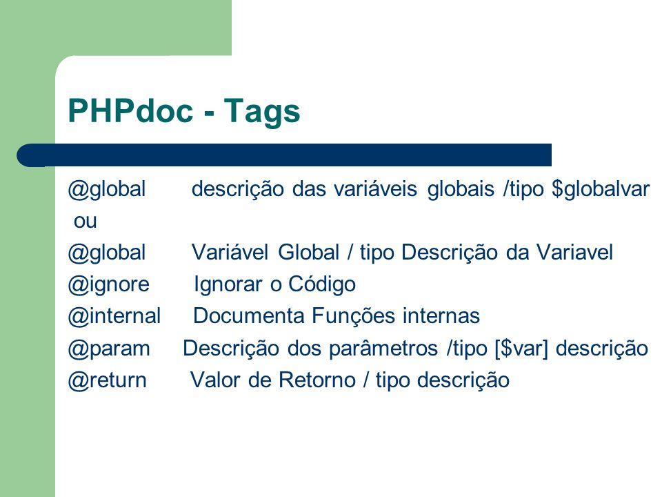 PHPdoc - Tags @global descrição das variáveis globais /tipo $globalvar