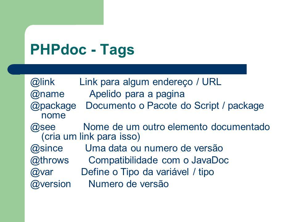 PHPdoc - Tags @link Link para algum endereço / URL