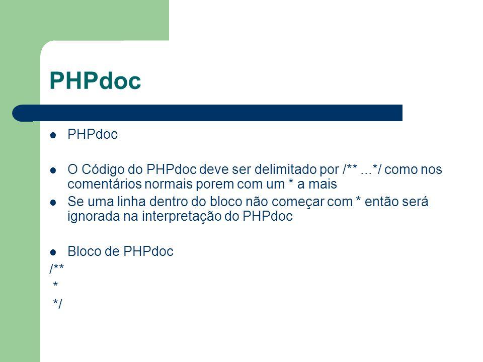 PHPdoc PHPdoc. O Código do PHPdoc deve ser delimitado por /** ...*/ como nos comentários normais porem com um * a mais.