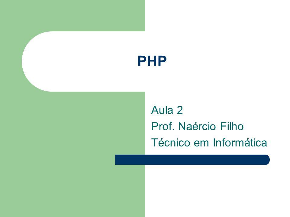 Aula 2 Prof. Naércio Filho Técnico em Informática
