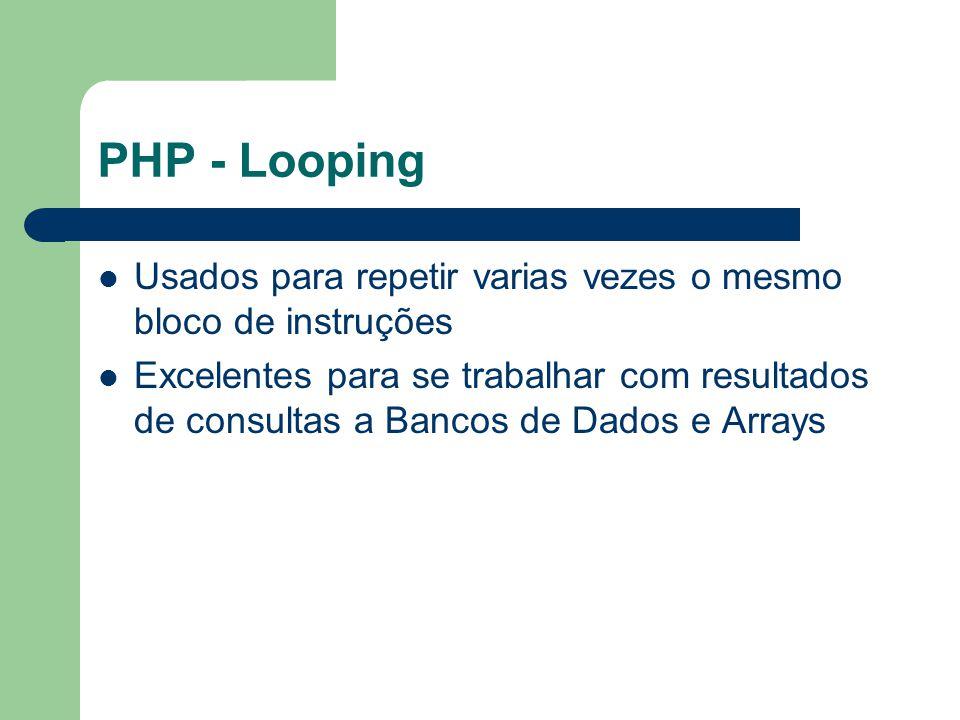 PHP - Looping Usados para repetir varias vezes o mesmo bloco de instruções.