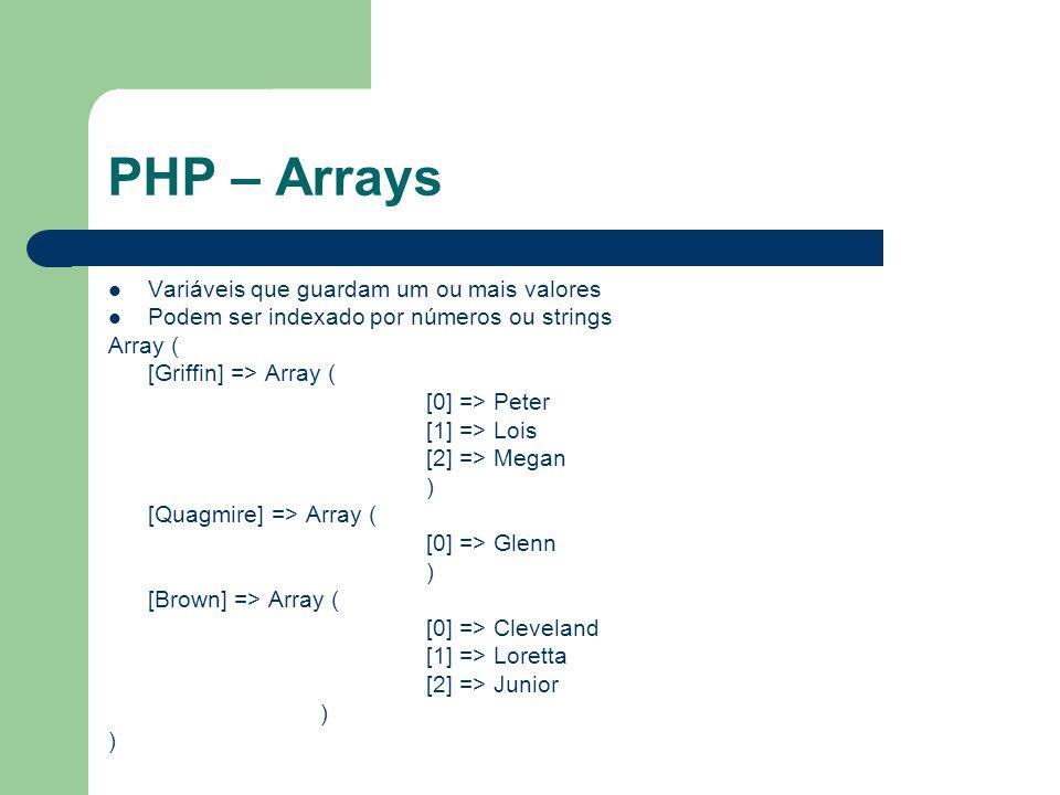 PHP – Arrays Variáveis que guardam um ou mais valores