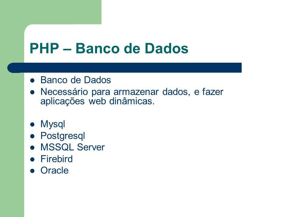 PHP – Banco de Dados Banco de Dados