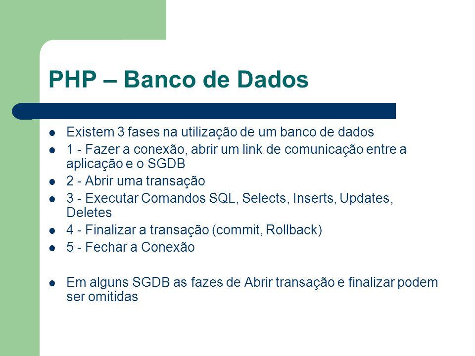PHP – Banco de Dados Existem 3 fases na utilização de um banco de dados.