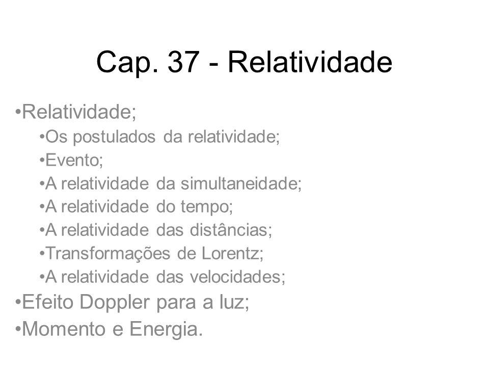 Cap. 37 - Relatividade Relatividade; Efeito Doppler para a luz;