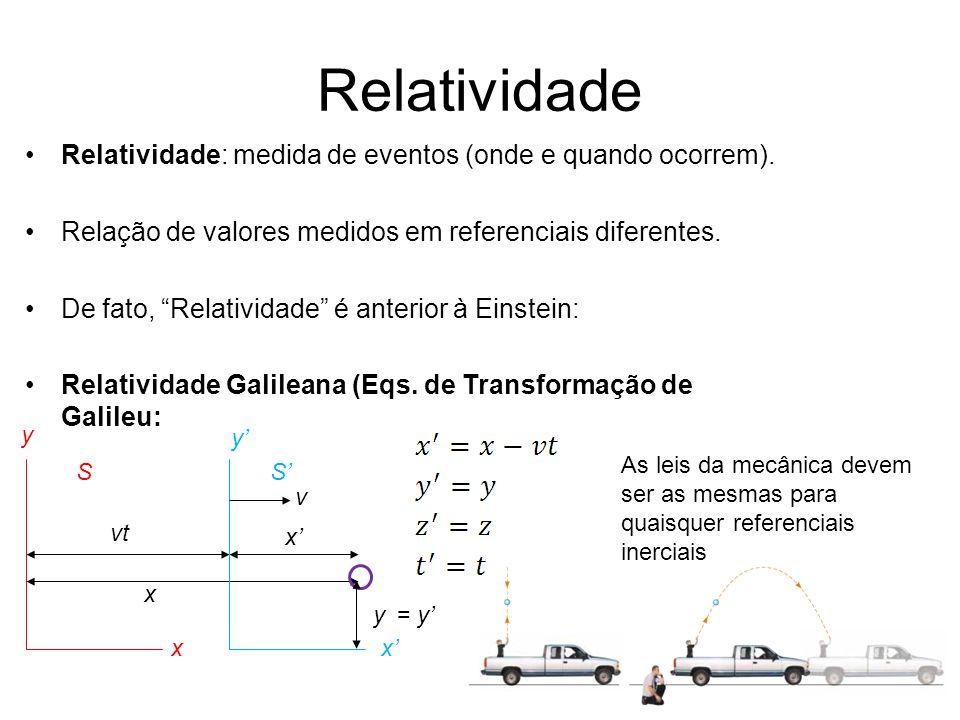 Relatividade Relatividade: medida de eventos (onde e quando ocorrem).