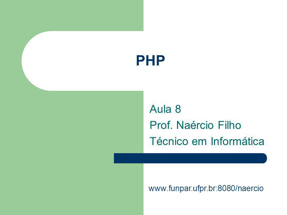 Aula 8 Prof. Naércio Filho Técnico em Informática