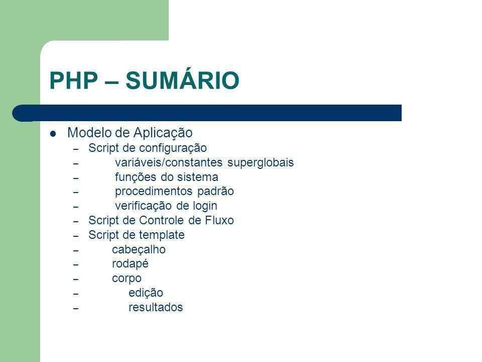 PHP – SUMÁRIO Modelo de Aplicação Script de configuração