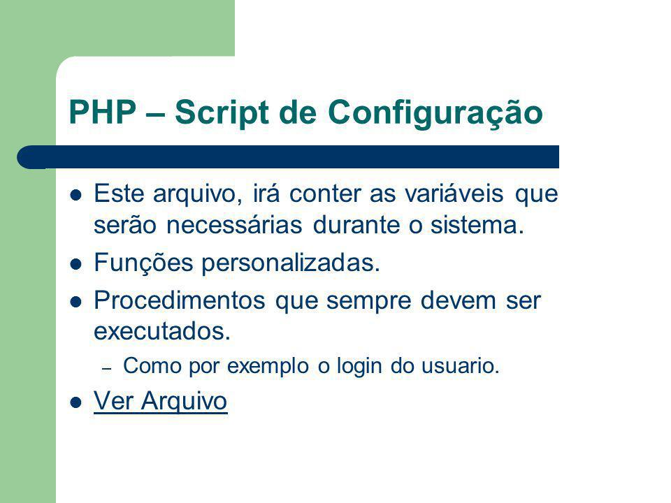 PHP – Script de Configuração