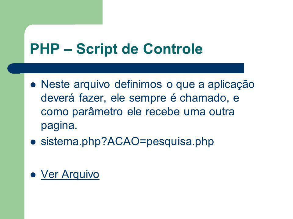 PHP – Script de Controle