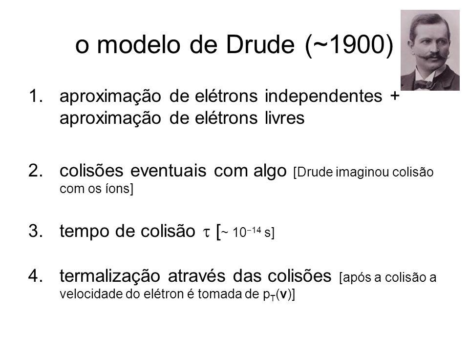 o modelo de Drude (~1900) aproximação de elétrons independentes + aproximação de elétrons livres.
