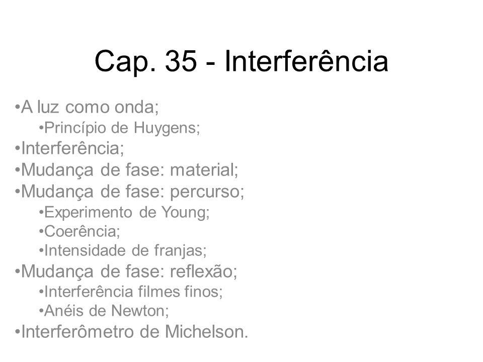 Cap. 35 - Interferência A luz como onda; Interferência;