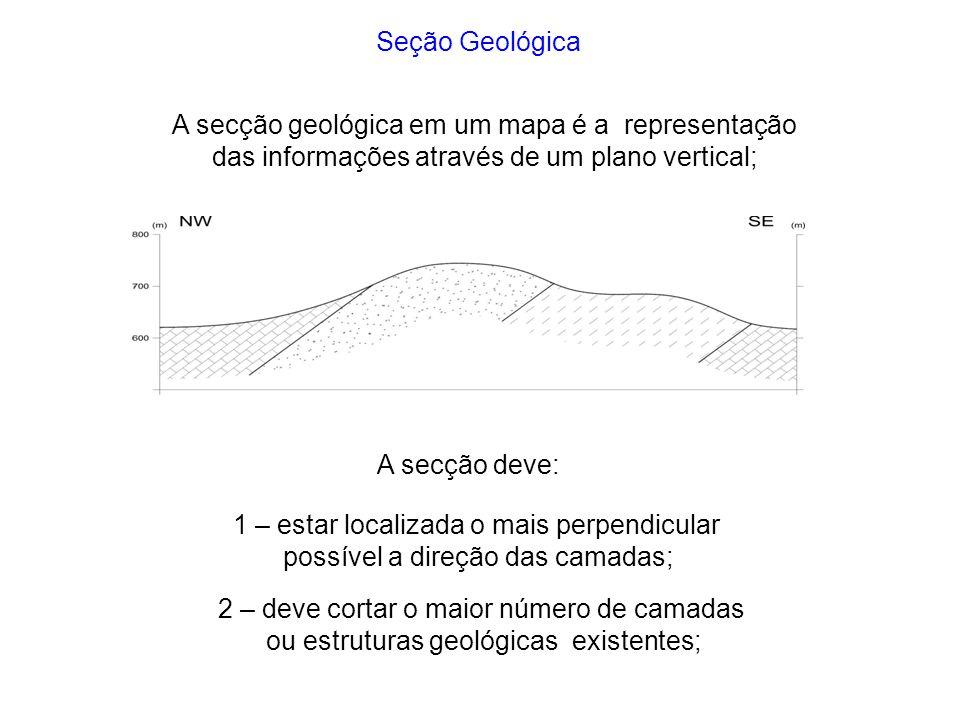 A secção geológica em um mapa é a representação