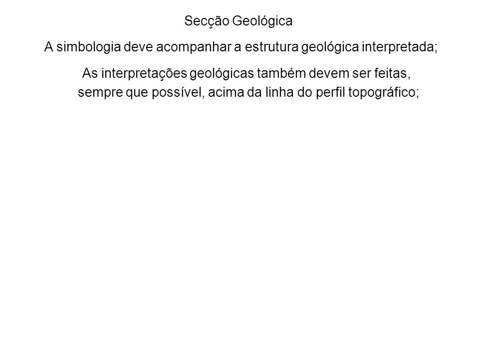 A simbologia deve acompanhar a estrutura geológica interpretada;
