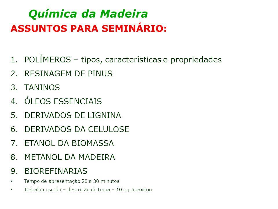 Química da Madeira ASSUNTOS PARA SEMINÁRIO: