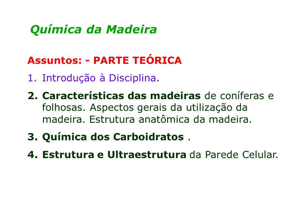 Química da Madeira Assuntos: - PARTE TEÓRICA Introdução à Disciplina.