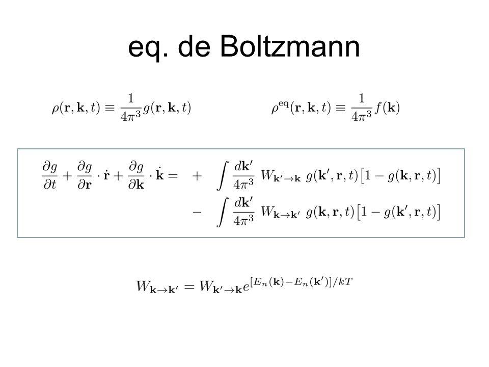 eq. de Boltzmann Explicar a dinâmica sem colisão: F(t+dt,r,k)=F(t,r-vr.dt,k-vk.dt)