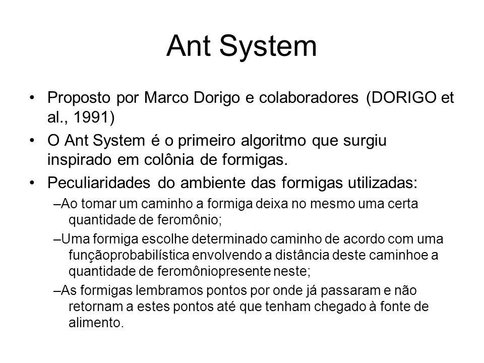 Ant System Proposto por Marco Dorigo e colaboradores (DORIGO et al., 1991)