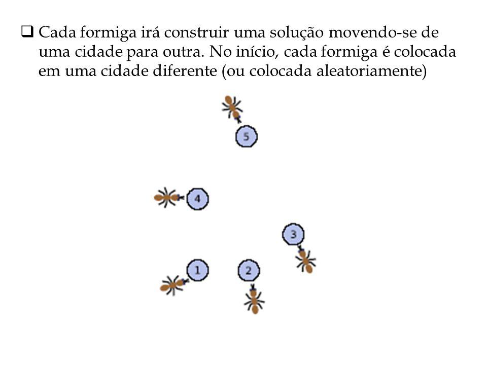 Cada formiga irá construir uma solução movendo-se de uma cidade para outra.
