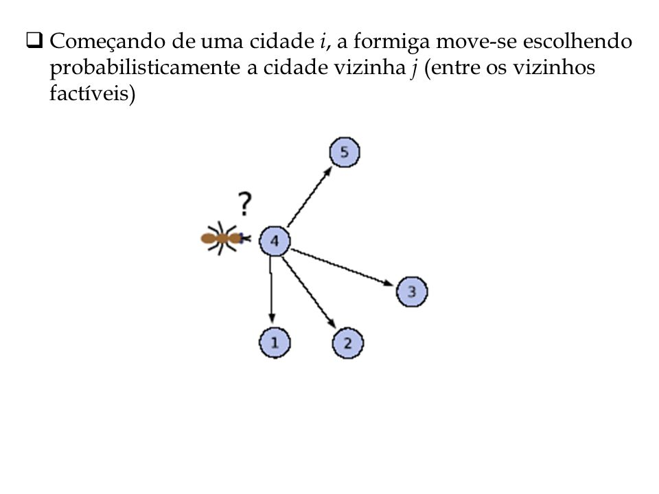 Começando de uma cidade i, a formiga move-se escolhendo probabilisticamente a cidade vizinha j (entre os vizinhos factíveis)