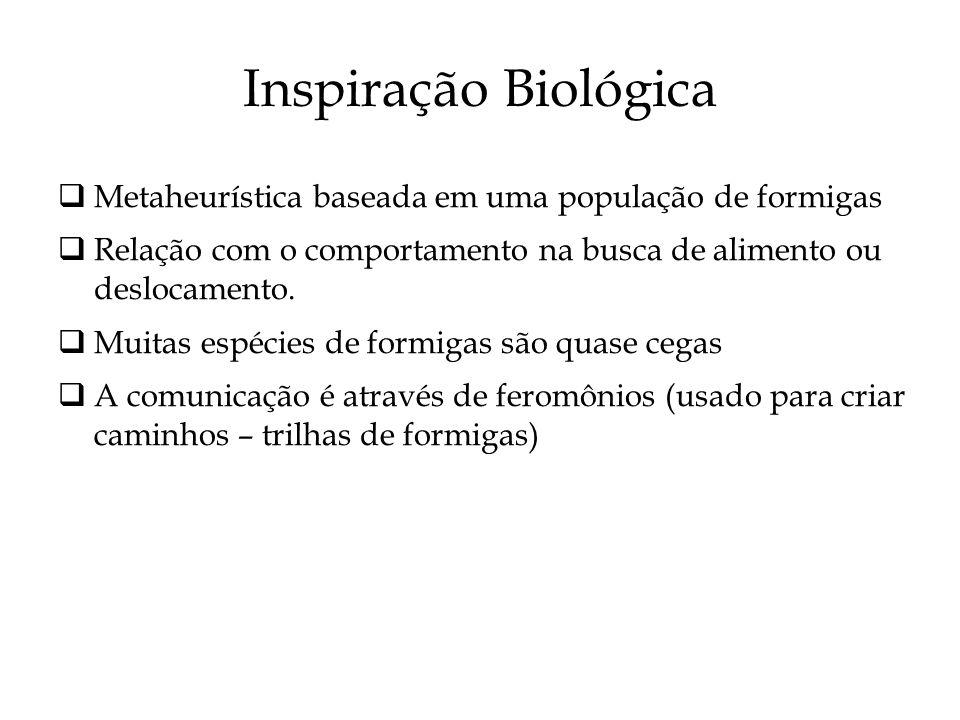 Inspiração Biológica Metaheurística baseada em uma população de formigas. Relação com o comportamento na busca de alimento ou deslocamento.