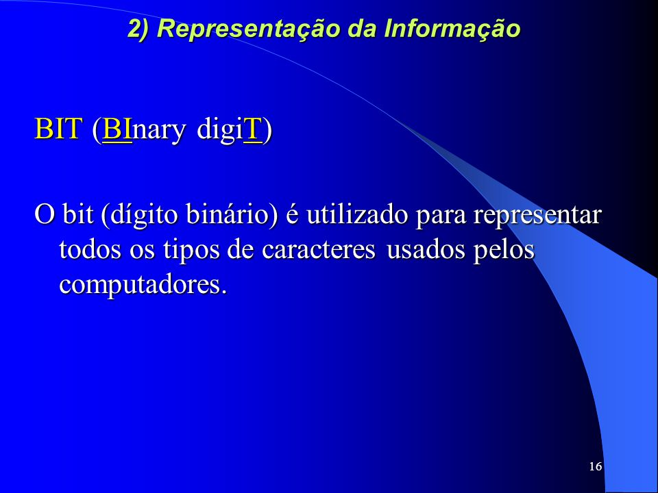 2) Representação da Informação