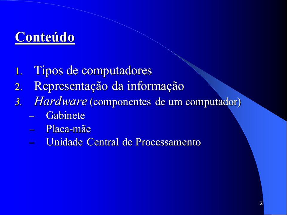 Conteúdo Tipos de computadores Representação da informação