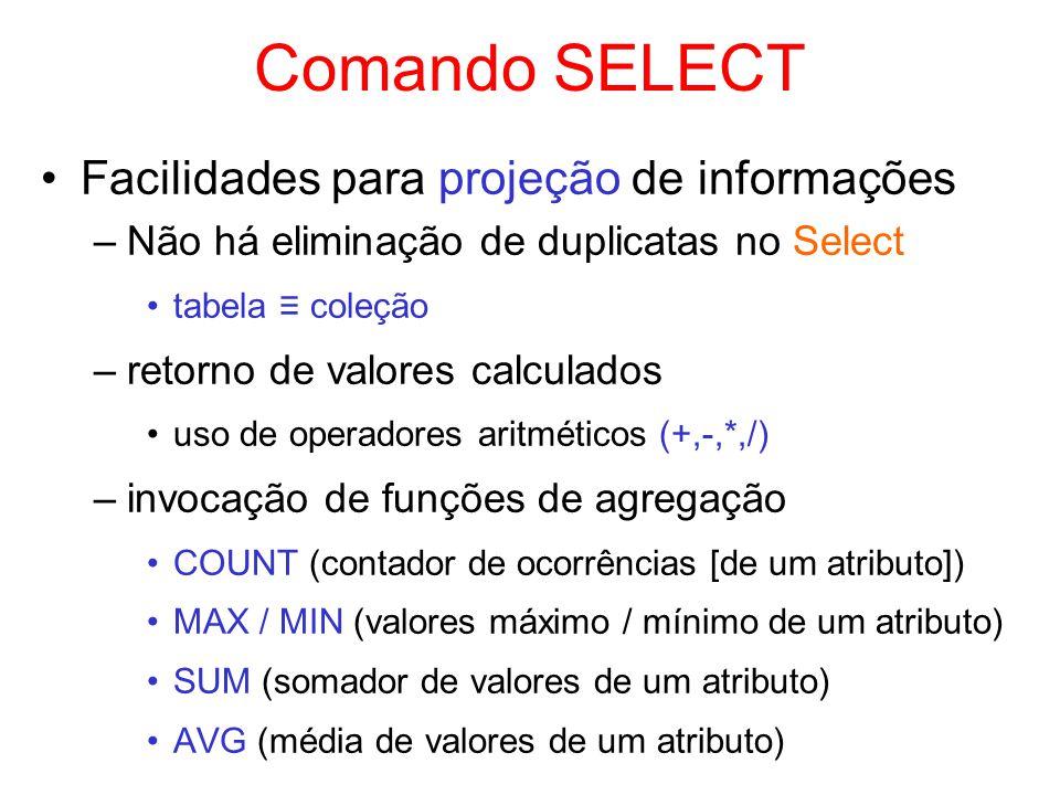 Comando SELECT Facilidades para projeção de informações