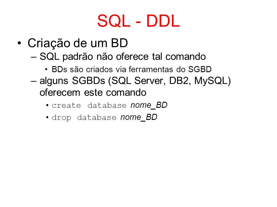 SQL - DDL Criação de um BD SQL padrão não oferece tal comando