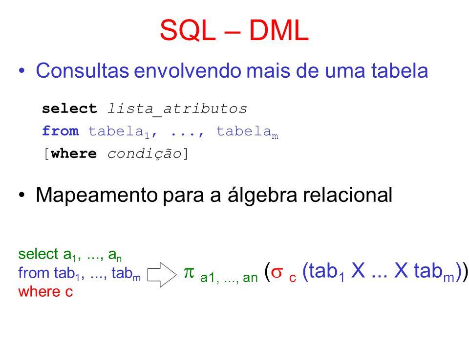 SQL – DML Consultas envolvendo mais de uma tabela