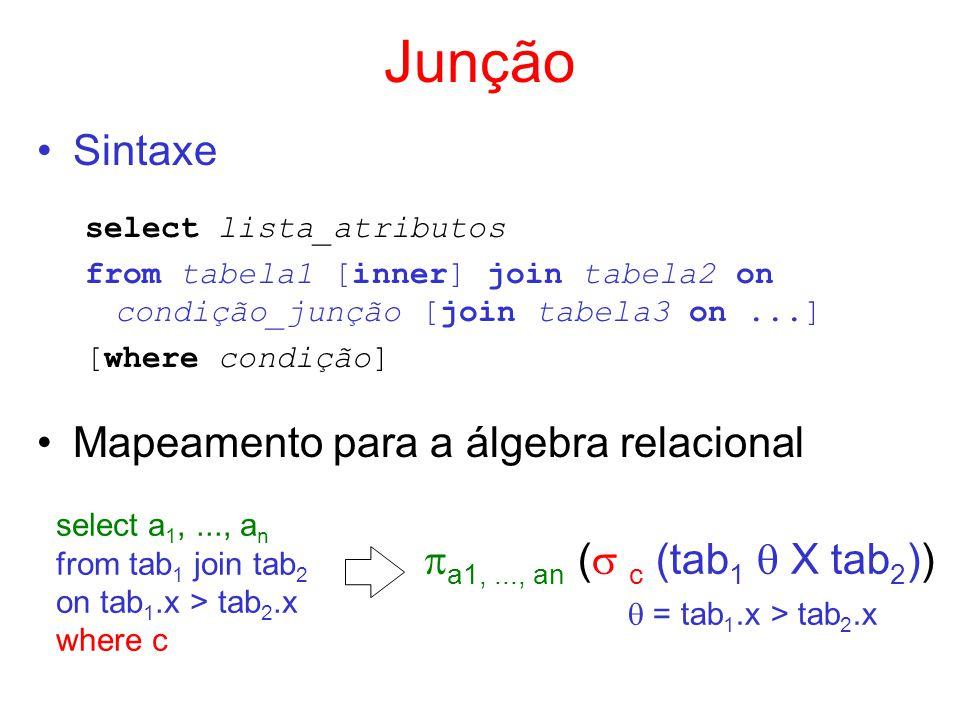 Junção Sintaxe Mapeamento para a álgebra relacional