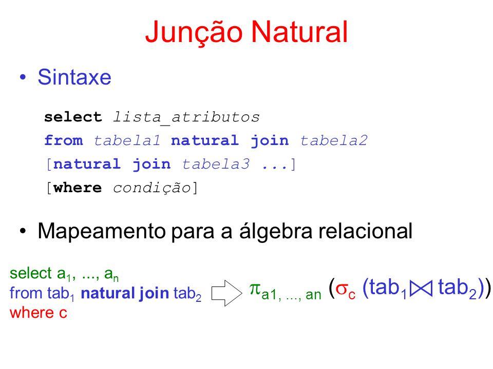 Junção Natural Sintaxe Mapeamento para a álgebra relacional