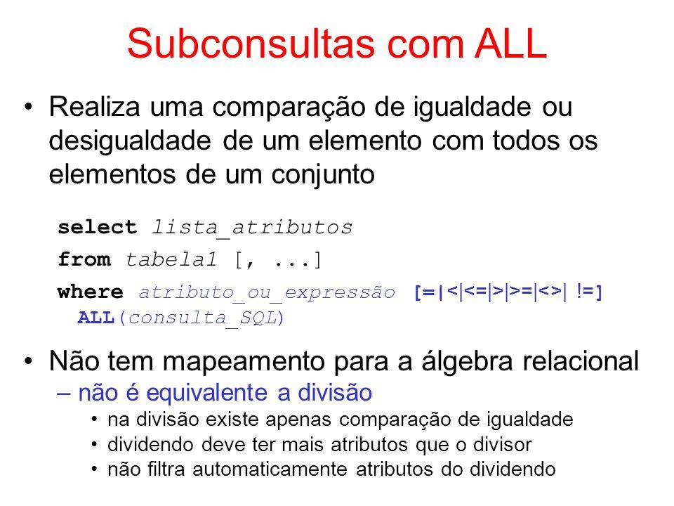 Subconsultas com ALL Realiza uma comparação de igualdade ou desigualdade de um elemento com todos os elementos de um conjunto.