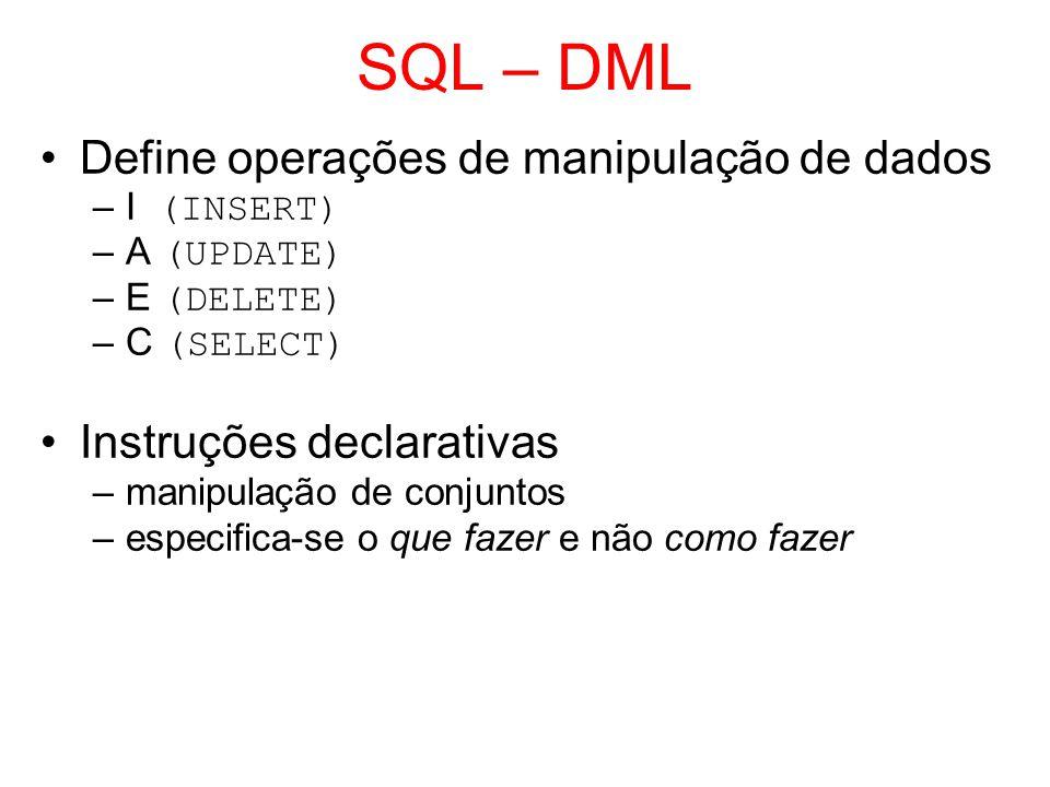 SQL – DML Define operações de manipulação de dados