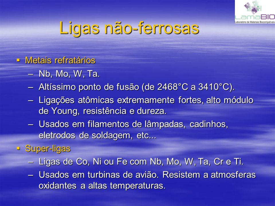 Ligas não-ferrosas Metais refratários Nb, Mo, W, Ta.