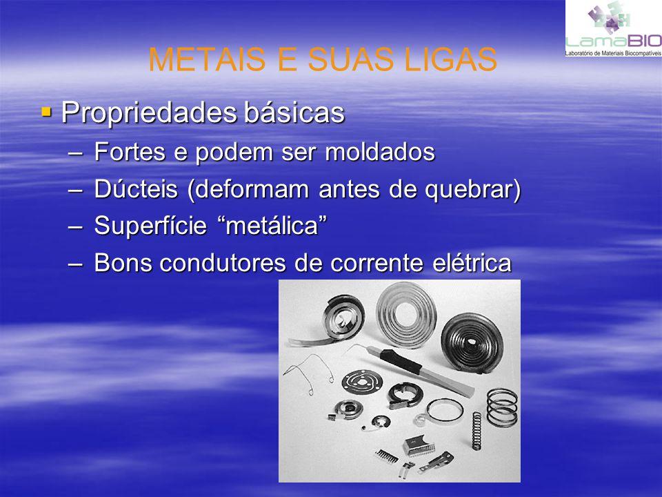 METAIS E SUAS LIGAS Propriedades básicas Fortes e podem ser moldados