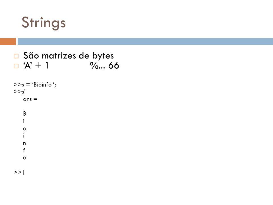 Strings São matrizes de bytes 'A' + 1 %... 66 >>s = 'Bioinfo ';