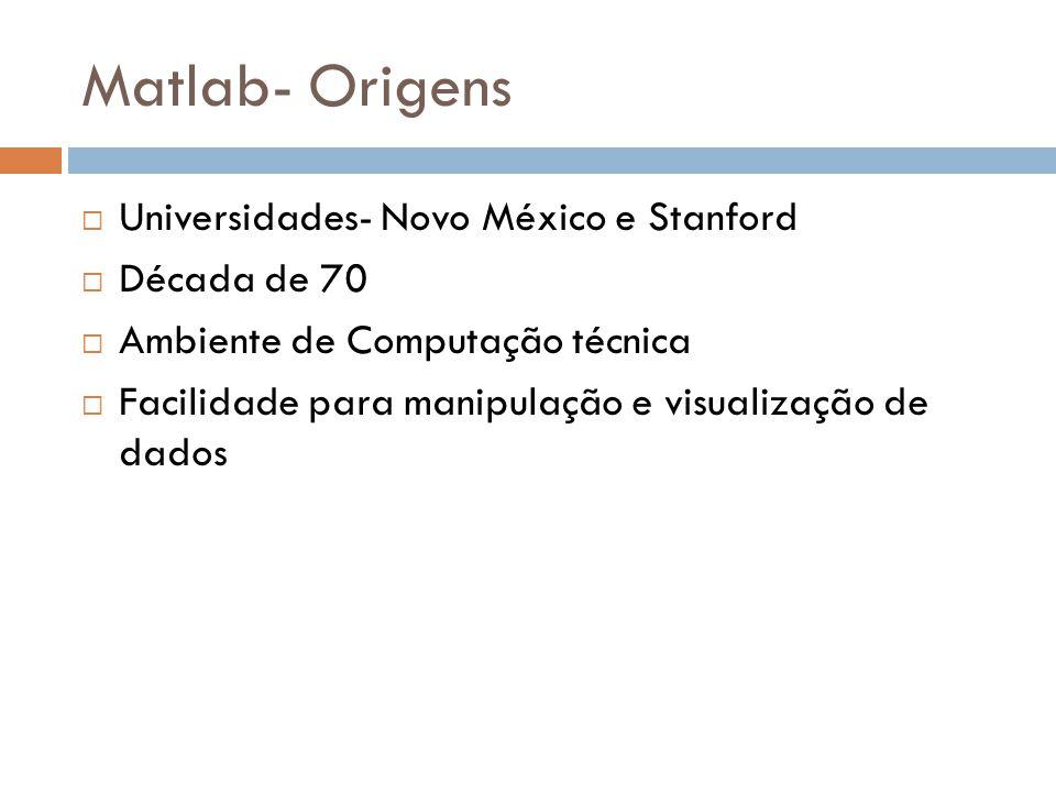 Matlab- Origens Universidades- Novo México e Stanford Década de 70
