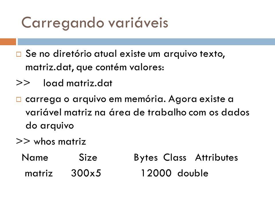 Carregando variáveis Se no diretório atual existe um arquivo texto, matriz.dat, que contém valores: