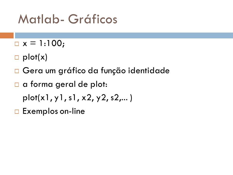 Matlab- Gráficos x = 1:100; plot(x)
